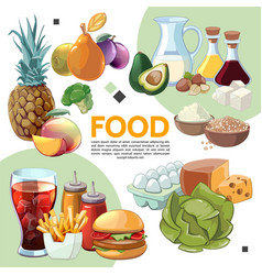 colorful cartoon food composition vector image