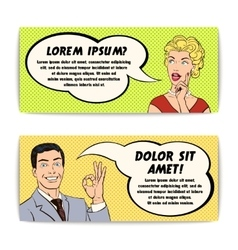 Comics Man And Woman Banner Set vector image