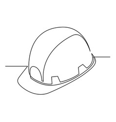 continuous one line construction helmet - hard hat vector image