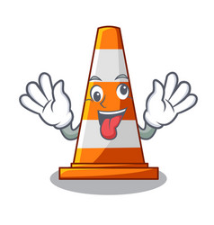 crazy on traffic cone against mascot argaet vector image