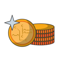 Cryptocurrency coins money isolated vector
