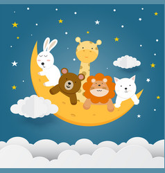 Cute animals on moon with stars clouds vector
