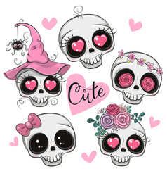 Cute cartoon skulls with flowers and hearts vector