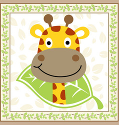 cute giraffe cartoon on plants frame vector image