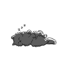 cute grey cat sleeping on its back - simple vector image