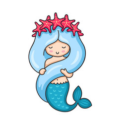 Cute mermaid with long blue hair and wreath of red vector