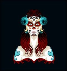 Day of the dead woman portrait vector