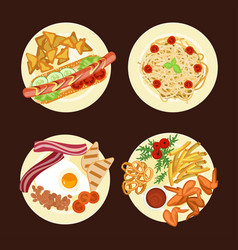 Different dishes and salads vector