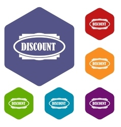 Discount oval label icons set vector image