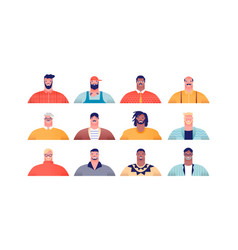 diverse man people or father cartoon set isolated vector image