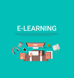 E-learning education online and university banner vector