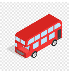 English red bus isometric icon vector