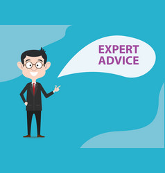 Expert advice with business man standing and text vector