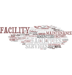 facility word cloud concept vector image