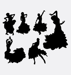 Female flamenco dancer silhouettes vector image