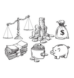 Finance money set scales stack of coins sack of vector