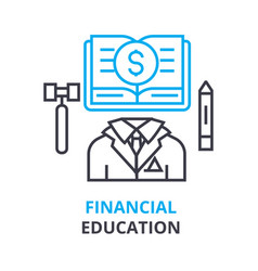 financial education concept outline icon linear vector image