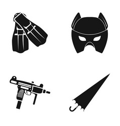 Fins mask and other web icon in black style vector