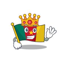 Flag cameroon above king table cartoon vector