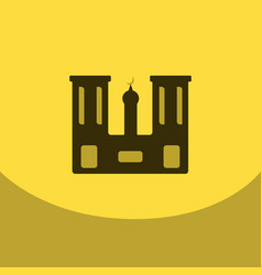 Flat icon on yellowsquare arabic mosque with the vector