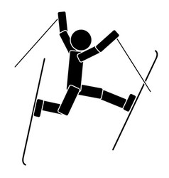 Freestyle skiing flat icon vector