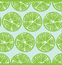 fruit seamless pattern lime slices with shadow vector image
