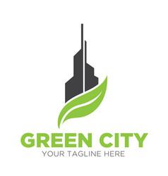 green city logo designs eco vector image