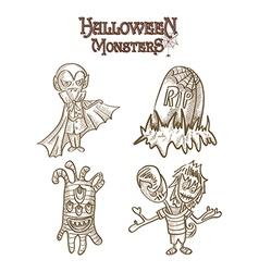 Halloween characters set eps10 vector