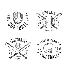 hand drawn emblem of softball vector image