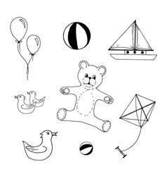 hand drawn set of kids toys on vector image