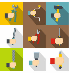 hand with tools icons set flat style vector image