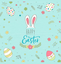 happy easter greeting card with cute spring eggs vector image