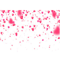 Heart confetti background falling from above pink vector