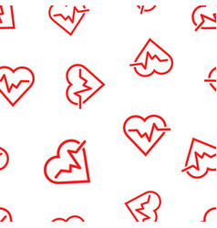 heartbeat line with heart icon seamless pattern vector image