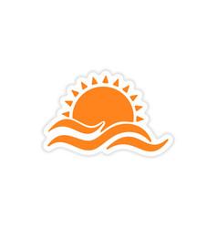 Icon sticker realistic design on paper sun Sea vector