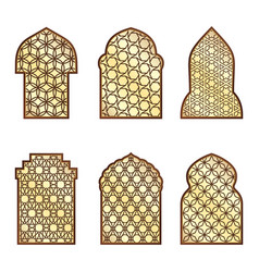 Islamic classical windows and doors with arabic vector