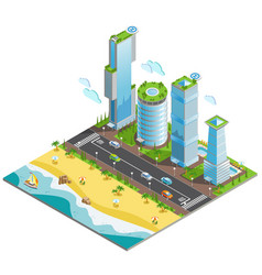isometric futuristic skyscrapers composition vector image