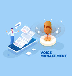 isometric voice management and digital sound wave vector image