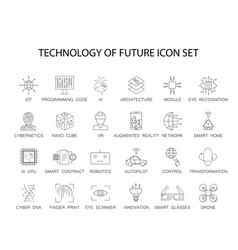 line icons set technology of future pack vector image