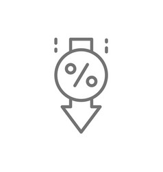 Loan interest rate reduction line icon vector