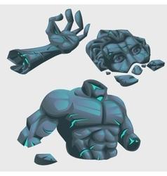 Magical ruins of sculptures arm head and torso vector image