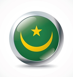 Mauritania flag button vector