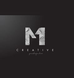 Mi m i letter logo with zebra lines texture vector