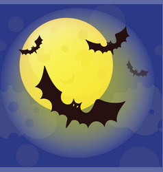 moon halloween flat design cartoon vector image