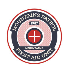 Mountains patrol isolated label vector