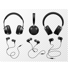 music earphones black headphone gaming headset vector image