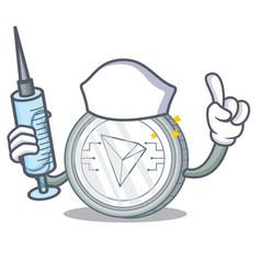 Nurse tron coin character cartoon vector