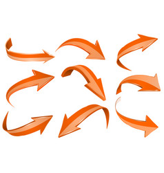 orange 3d shiny arrows set of bent icons vector image