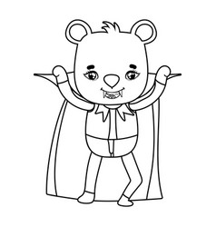 Outline bear with vampire costume wearing cape and vector