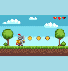 Pixel-game knight brave character in armor vector